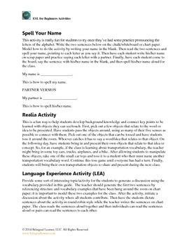 ESL for Beginners- Classroom Activities