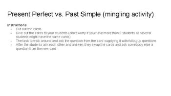 ESL fun mingling activity Present Perfect vs Past Simple