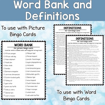ESL bingo game about Endangered animals for teens