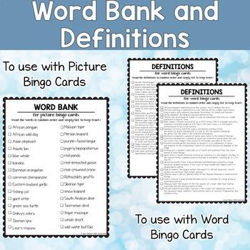 Endangered Animals ESL Activities Bingo Cards