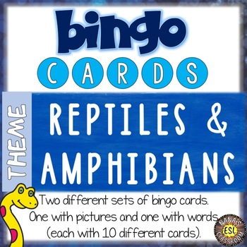 ESL bingo game about Reptiles and Amphibians for teens