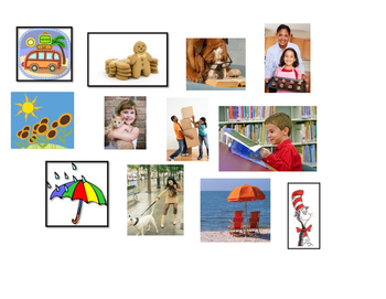 ESL kindergarten matching sentences to pictures emergent reader cut paste center