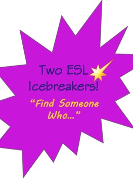 Icebreaker ESL or ESOL Speaking Activity Find Someone Who.