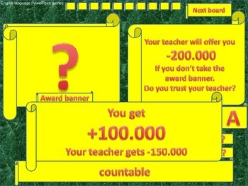ESL powerpoint games Do you trust your teacher countable and uncountable nouns