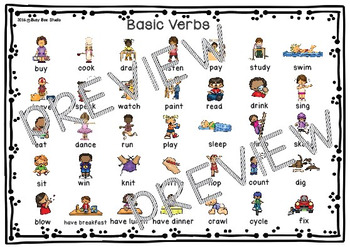 ESL resources: Basic Verbs Bingo Game