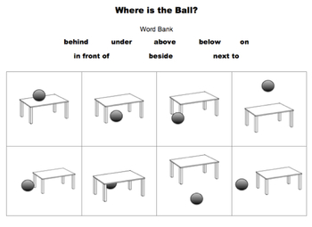 ESL/Autism: Directions/Prepositions: Ball & Table