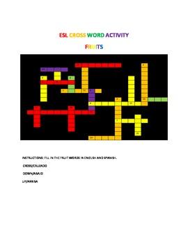 ESL/BILINGUAL CROSS WORD FRUITS ACTIVITY
