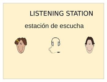 ESL/BILINGUAL LISTENING STATION/CENTER SIGN FOR CLASSROOM