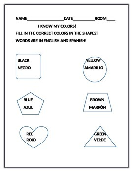 ESL/BILINGUAL WORKSHEET/COLORS & SHAPES K-2