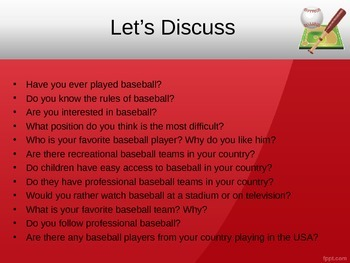 ESL/EFL Discussion Activities:  Baseball
