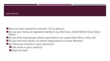 ESL/EFL Discussion Activities:  Charities