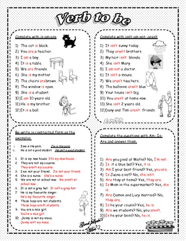 ESL/EFL: Grammar- verb to- 2 worksheets  and answers included