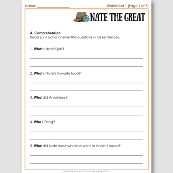 Nate the Great, an English Novel Study for Korean Students