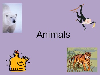 ESL/ELL English Animal Vocabulary Power Point ppt