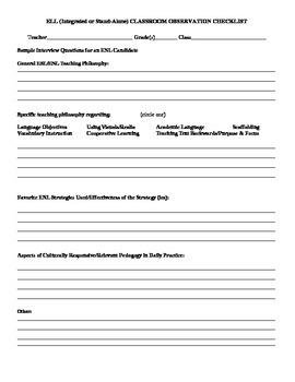 ESL/ENL teacher observation protocol and teacher self-assessment