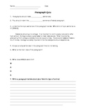 ESOL/ ESL Paragraph Quiz with Key