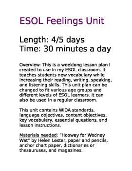 ESOL Feelings Unit