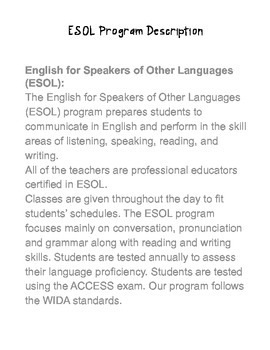 ESOL Handbook for Staff- EDITABLE!