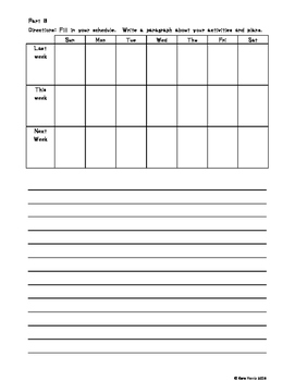 ESOL Past and Future Calendar Worksheet