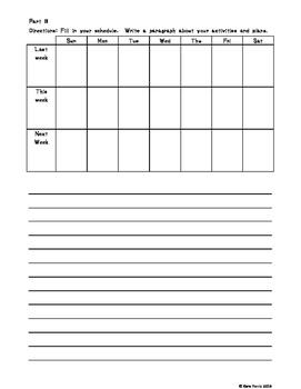 ESOL Past and Future Calendar Worksheet