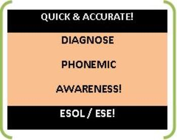 ESOL: Phonemic Awareness Pre and Post Test! For a Quick & Accurate Diagnosis!