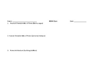 ESOL Rome Study Guide/Picture Support/Assessment