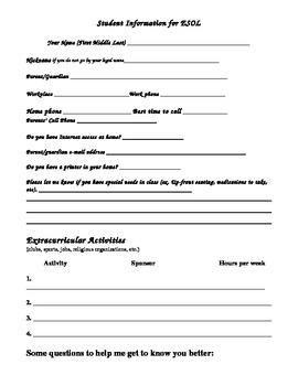 ESOL- Student Information