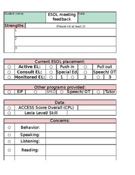 ESOL meeting documentation template