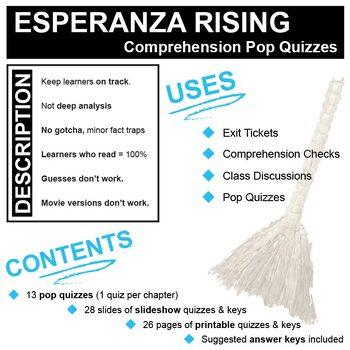 ESPERANZA RISING 13 Pop Quizzes Bundle