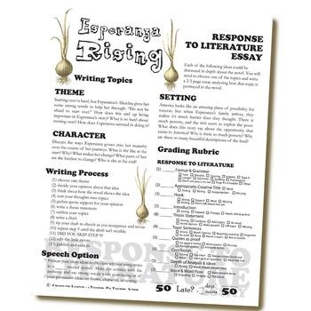ESPERANZA RISING Essay Prompts & Grading Rubrics