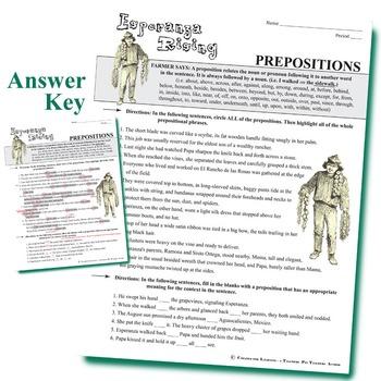 ESPERANZA RISING Grammar Package Commas Conjunctions Prepositions Interjections