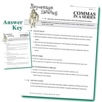 ESPERANZA RISING Grammar Commas in a Series (List)