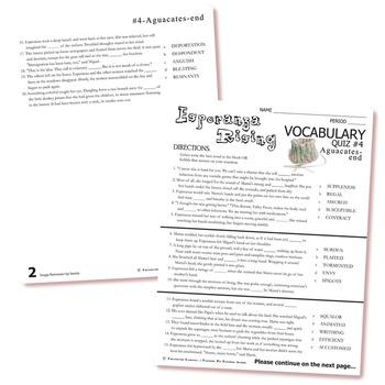 ESPERANZA RISING Vocabulary List and Quiz (part 4)