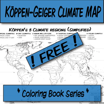 **Free** Simplified Köppen-Geiger Climate map-Blank Map **Coloring Book Series**