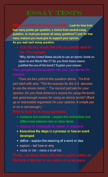 ESSAY TESTS QUESTION STUDY GUIDE POSTER