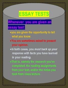 ESSAY TESTS QUESTIONS/STUDY GUIDE