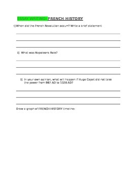 ESSAY WRITING French History for 4th Grade