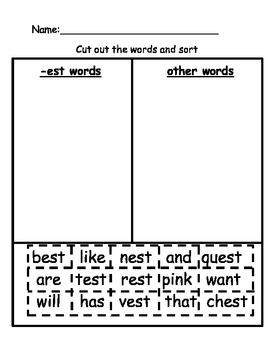 EST word family activity