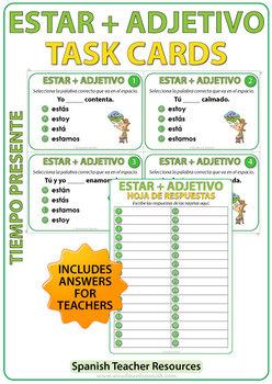 ESTAR + Adjective - Spanish Task Cards