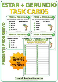 ESTAR + Gerundio - Spanish Task Cards