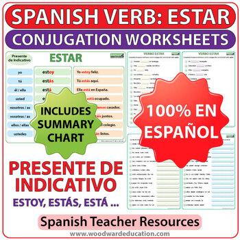 estar spanish verb conjugation worksheets present tense tpt. Black Bedroom Furniture Sets. Home Design Ideas