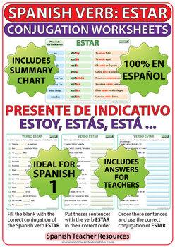 Estar Spanish Verb Conjugation Worksheets Present Tense Tpt