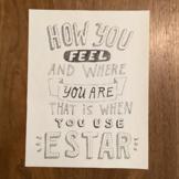 ESTAR poster ~Spanish verb estar ~Word Wall ~Bulletin Board Class decor No prep