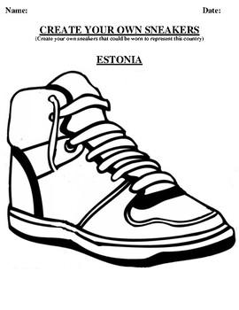 ESTONIA Design your own sneaker and writing worksheet