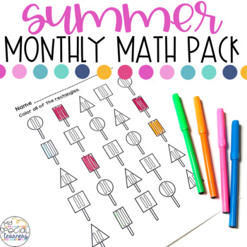 ESY Summer Math Printables for Special Education