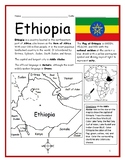 ETHIOPIA - Printable handout with map and flag