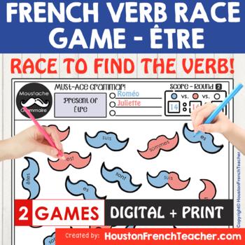 ETRE French Verb Race Game -grammar/conjugation game (MOUSTACHE GRAMMAIRE)