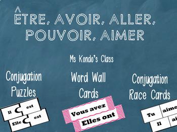 GRATUIT - ÊTRE, AVOIR, ALLER, POUVOIR & AIMER  Cartes de conjugaison
