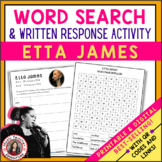 ETTA JAMES Word Search and Research Activity for Middle Sc