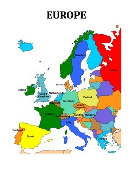 EUROPE: TEXT, QUIZ, MAP, LABEL POLITICAL BLANK MAP, WORD SEARCH (GRADES 4 - 7)